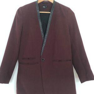 ASOS Burgundy Blazer with Leather Trim